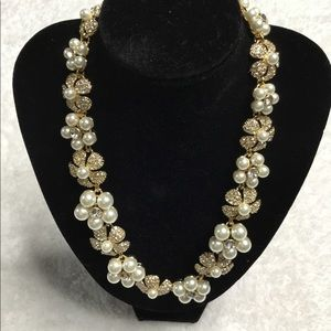 Charter Club Crystal Pearl Cluster Necklace